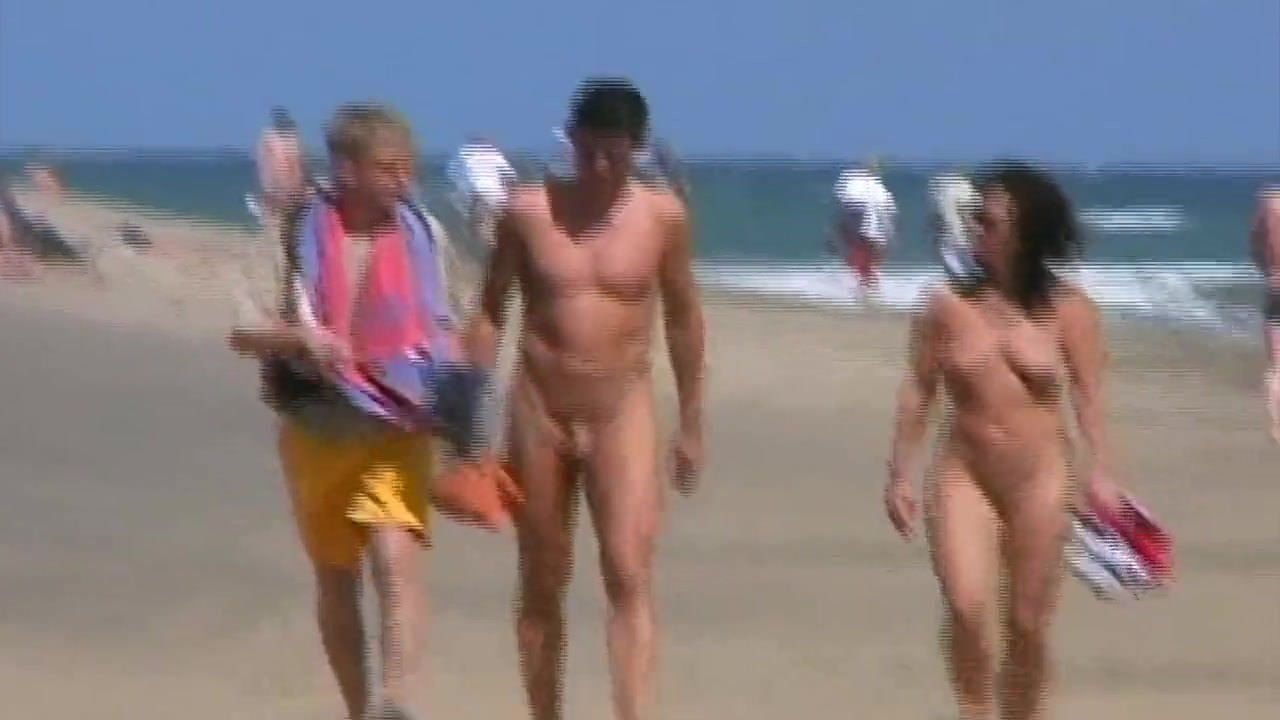 Gruppe strand nackt Gruppe von